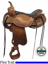 "17"" Circle Y Julie Goodnight Wind River Wide Flex2 Trail Saddle 1750, Floor Model uscy3563 *Free Shipping*"
