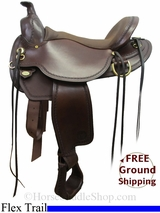 "PRICE REDUCED! 17"" Circle Y Long Ear A-Fork 1158 Flex2 Mule Trail Saddle, Wide Tree, Floor Model uscy2998 *Free Shipping*"