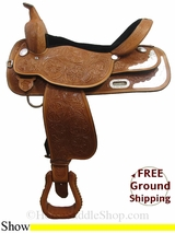 "PRICE REDUCED! 17"" High Horse Gladewater 6310 Show Saddle, Wide Tree, Floor Model ushh3013 *Free Shipping*"