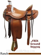 "17"" Used Billy Cook Ranch Saddle, Wide Tree usbi3129 *Free Shipping*"