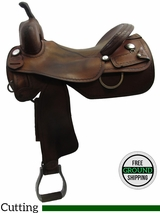 "PRICE REDUCED! 17"" Used C&J Koen Cutting Saddle, Wide Tree usko3184 *Free Shipping*"