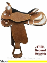 "PRICE REDUCED! 17"" Used Circle Y Flex2 Show Saddle, Wide Tree uscy3041 *Free Shipping*"