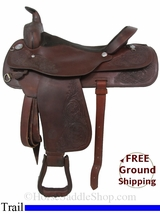 "PRICE REDUCED! 17"" Used Circle Y Trail Saddle uscy2956 *Free Shipping*"