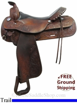 "PRICE REDUCED! 17"" Used Circle Y Trail Saddle uscy3003 *Free Shipping*"