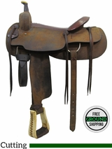 "PRICE REDUCED! 17"" Used Longhorn Cutting Saddle uslh3148 *Free Shipping*"