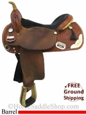 "17"" Used Tex Tan Pro Only Barrel Racing Saddle, Wide Tree ustt2766 *Free Shipping*"