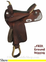 "17"" Used Tex Tan Flex Show Saddle, Wide Tree ustt2989 *Free Shipping*"