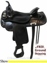 """PRICE REDUCED! 17"""" Used Tex Tan Flex Show Saddle, Wide Tree ustt2989 *Free Shipping*"""