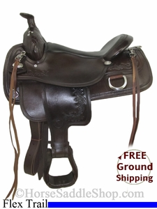 "SOLD 2014/06/24 $945 PRICE REDUCED! 17"" Used Tex Tan Flex Trail Saddle, Wide Tree ustt2755 *Free Shipping*"