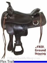 "NO LONGER AVAILABLE 17"" Used Tex Tan Flex Trail Saddle, Wide Tree ustt2755 *Free Shipping*"