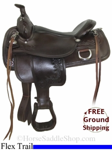 """NO LONGER AVAILABLE 17"""" Used Tex Tan Flex Trail Saddle, Wide Tree ustt2755 *Free Shipping*"""