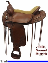 """SOLD 2015/11/26 17"""" Used Tex Tan Wide Trail Saddle 08-TF424XP7 *Free Shipping*"""