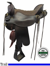 "SOLD 2016/11/08  17.5"" Used Tucker Cheyenne Frontier Extra Wide Trail Saddle 167 ustk3495 *Free Shipping*"