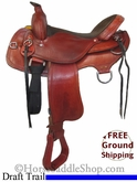 "17"" Used Wyoming Saddlery Draft Trail Saddle uswy2736 *Free Shipping*"