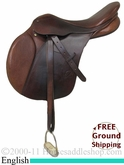 "PRICE REDUCED! 18"" Used Bates Caprilli Saddle, Wide tree usen2143 *Free Shipping*"
