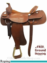 "18"" Used Billy Cook Roping Saddle usbi3055 *Free Shipping*"