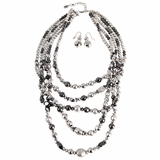 5 Strand Silver Beads Necklace and Earring Set 29441