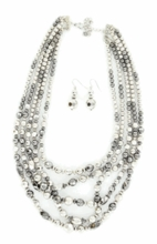 5 Strand Silver Beads Necklace 29441