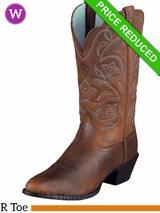 SOLD 2017/01/31  8.5B Ariat Women's Western Heritage R Toe Boots Brown Oiled Rowdy 1017 CLEARANCE