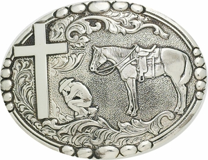 Antique Silver - Cowboy Praying Belt Buckle C15104