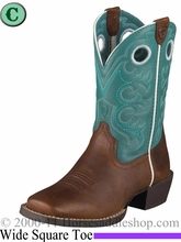 Ariat Kid's Crossfire Boots Wide Square Toe Brown Oiled Rowdy 5989