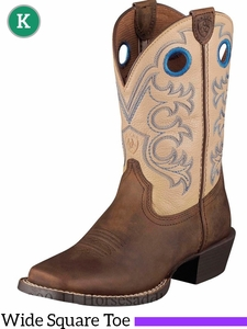 Ariat Kid's Crossfire Boots Wide Square Toe Distressed Brown 5993