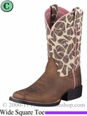 Ariat Kids Quickdraw Boots Wide Square Toe Brown Pull Up 4854