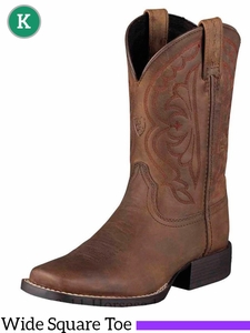 Ariat Kids Quickdraw Boots Wide Square Toe Distressed Brown 10004853