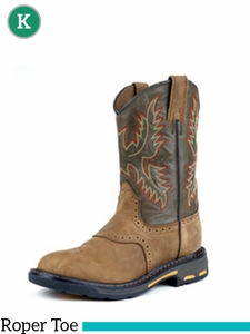 Ariat Kids WorkHog Roper Toe Aged Bark 7836