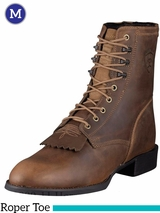 Ariat Men's Heritage Lacer Boots Roper Toe Distressed Brown 10001988