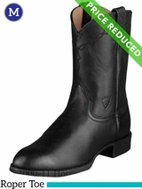 Ariat Men's Heritage Roper Boots Roper Toe Black 10002280 CLEARANCE