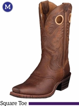 Ariat Men's Heritage Roughstock Boots Square Toe Brown Oiled Rowdy 10002227