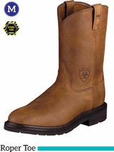 Ariat Men's Sierra Boots Roper Toe Aged Bark Steel Toe 10002449
