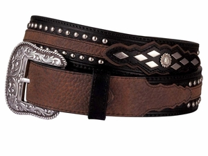 DISCONTINUED Ariat Men's Western Contemporary Black and Brown Belt - Austin 4269