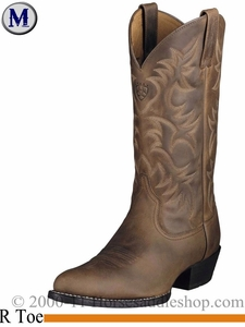 Ariat Men's Western Heritage R Toe Boots Distressed Brown 2204