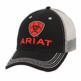 Ariat Mens Black and Red Logo Mesh Ball Cap 1515866