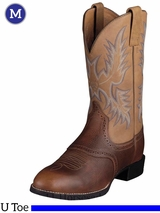 Ariat Mens Heritage Stockman Boots U Toe Barrel Brown 10002252