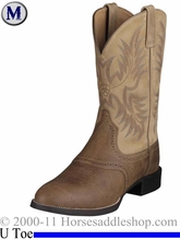 Ariat Mens Heritage Stockman Boots U Toe Tumbled Brown 2247