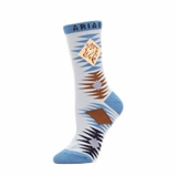 Ariat Women's Blue & Brown Horse Crew Socks A10012158