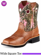 Ariat Women's Fatbaby Cowgirl Boots Wide Square Toe Cork Brown 10007977