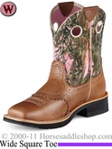 Ariat Women's Fatbaby Cowgirl Boots Wide Square Toe Cork Brown 7977