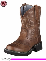 Ariat Women's Fatbaby Saddle Boots Fatbaby Toe Russet Rebel 0860