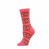 Ariat Women's Pink & Black Pattern Crew Socks A10012159