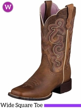 Ariat Women's Quickdraw Boots Wide Square Toe Badlands Brown 10006304