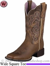 Ariat Women's Quickdraw Boots Wide Square Toe Badlands Brown 6304