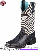 DISCONTINUED Ariat Women's Quickdraw Boots Wide Square Toe Black Anteater Print 6718