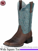 Ariat Women's Quickdraw Boots Wide Square Toe Brown Oiled Rowdy 4720