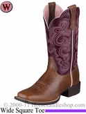 DISCONTINUED Ariat Women's Quickdraw Boots Wide Square Toe Russet Rebel 4719
