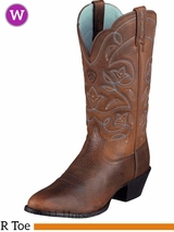 Ariat Women's Western Heritage R Toe Boots Brown Oiled Rowdy 10001017