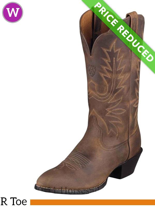 Ariat Women's Western Heritage R Toe Boots Distressed Brown ...